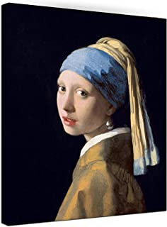 Canvas Wall Art Girl with A Pearl Earring by Johannes Vermeer Painting Print Pictures Classic Canvas Artwork Framed for Living Room Bedroom Home Decoration Ready to Hang