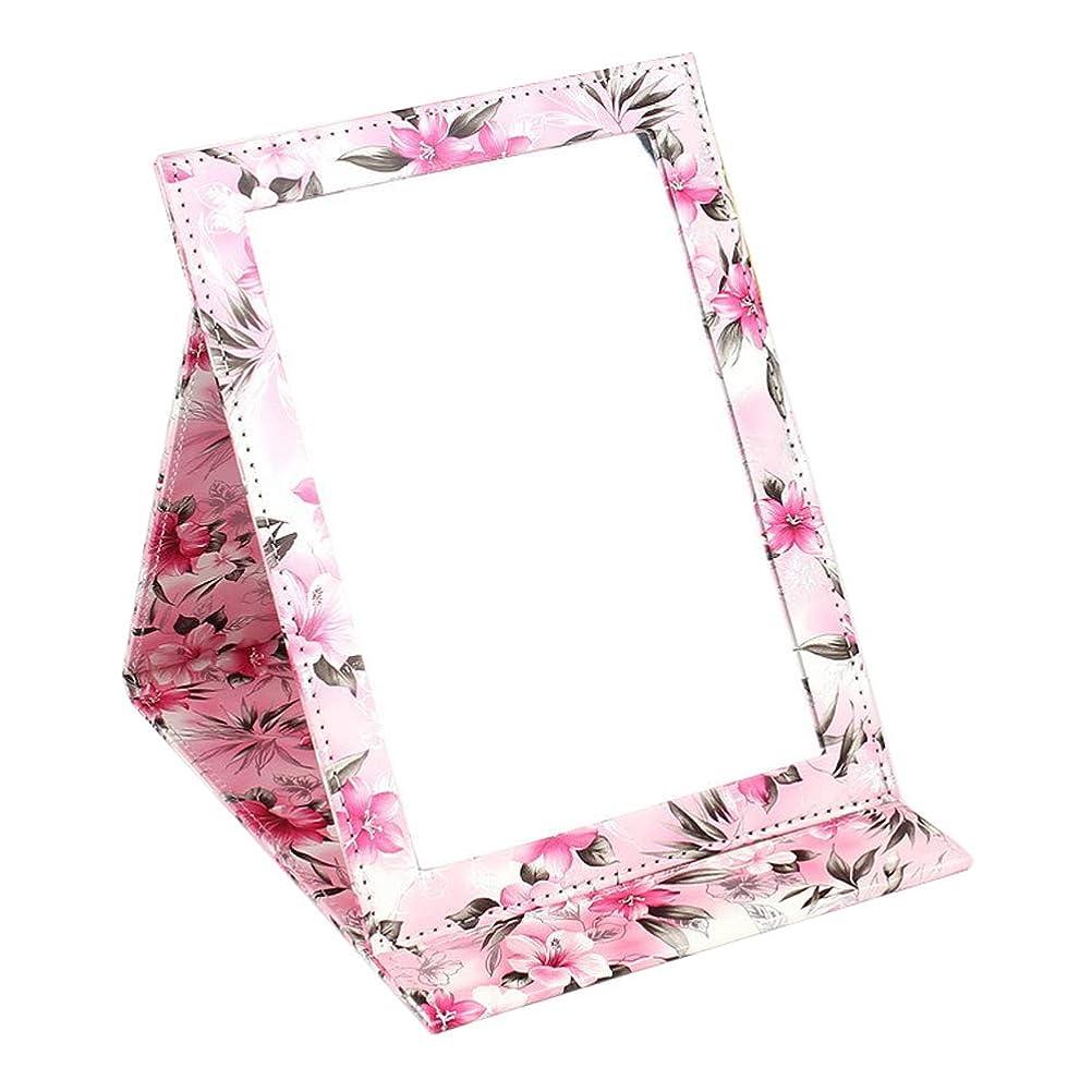 高潔なこしょう自分のYummyBuy 化粧ミラー 折りたたみ ミラー 鏡 卓上 化粧 化粧鏡 角度調整自由自在 上質PUレザー使用(クロコダイル?パターン、2サイズ) (大きなサイズ, ハッピーカラー)