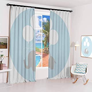 GUUVOR Elephant Nursery Decor Sun Protection Insulated Bedroom Living Room Curtain Little Baby Elephant with Big Balloons Happy Funny Icon 2 Panels W52 x L108 Inch Mauve Light Blue White