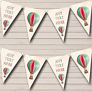 Rainbow Hot Air Balloon Personalized Childrens Party Bunting Flags Banner