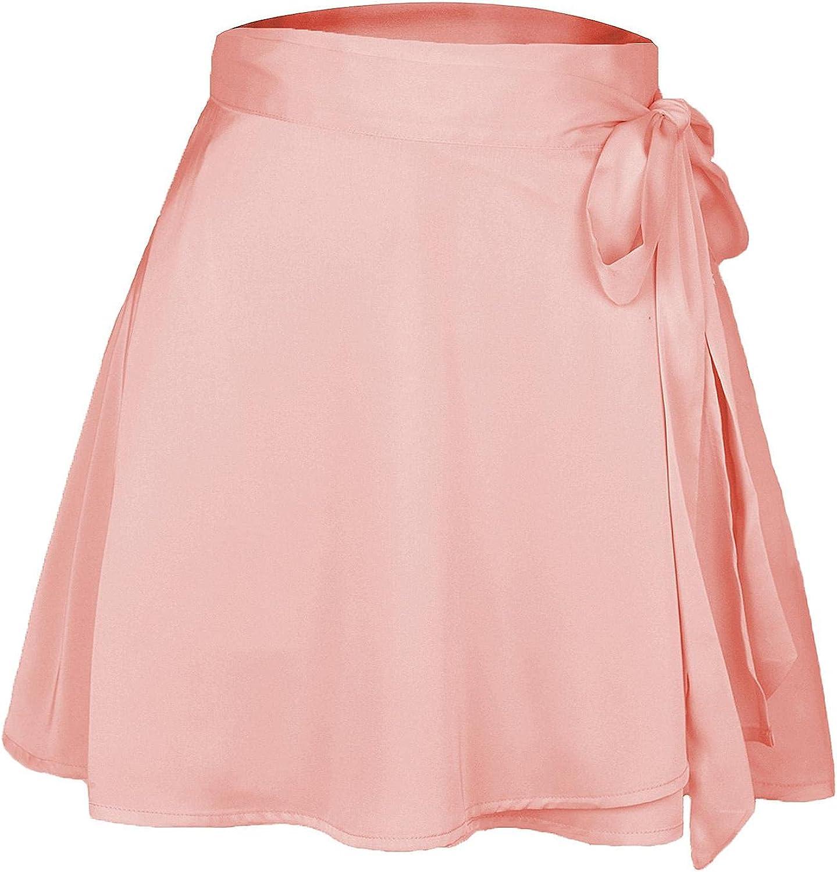 Gofusome Women's Satin Tie Side Wrap Flare Hem Solid Short Mini Skirt