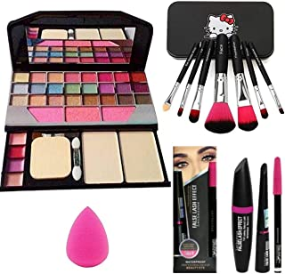 BTN Combo Face Makeup Kit With 7pcs Makeup Brush Set Different Size With Tya 6155 Makeup Kit + 1 Pc Beauty Blender Puff An...