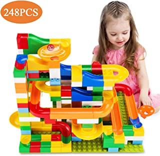 (D - 248 PCS) - TEMI 248 PCS Marble Run Deluxe Sets for Kids Marble Race Track for 3+ Year Old Boys and Girls Marble Rolle...