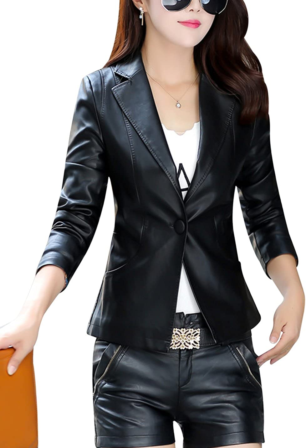 Tanming Women's One Button Faux Leather Suit Blazer Jacket Outerwear