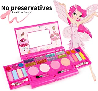 KIDCHEER Real Makeup Palette for Girls Washable Cosmetic Play Kit Princess Make up Set with Mirror