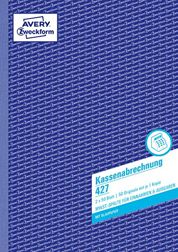 AVERY Zweckform 427 Kassenabrechnung (A4, mit MwSt.-Spalte, von Rechtsexperten geprüft, für Deutschland und Österreich zur ordnungsgemäßen, kostengünstigen Buchführung, 2x50 Blatt) weiß/gelb