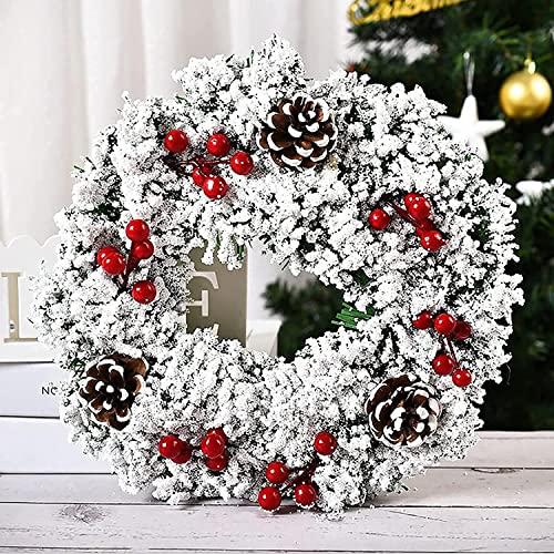 HAOJON Guirnalda de Conos de Pino de Bayas de Navidad de 11,8 '' Decoración de Guirnalda de Granja Coronas de Invierno rústicas |Coronas de Nieve Blanca de Invierno para Acción de Gracias Hallowee