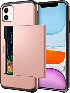 SAMONPOW Wallet Case for iPhone 11 Case with Card Holder Dual Layer Hybrid Shell Heavy Duty Protection Shockproof Anti Scratch Soft Rubber Bumper Cover Case for iPhone 11 6.1 inch Rose Gold