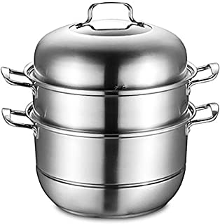 New Steamer Stainless Steel Three-layer Thickening Multi-layer Steamer Home Stainless Steel Soup Pot Cooking Pot with Lid ...