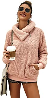 Ti caring Womens Casual Long Sleeve Coat Solid Color Turtleneck Fleece Winter Warm Outerwear