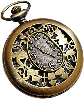 Alice in Wonderland Pocket Watch Necklace - Vintage Style Alice Backwards Clock Pendant - Steampunk Brass White Rabbit Charm Pocket Watch