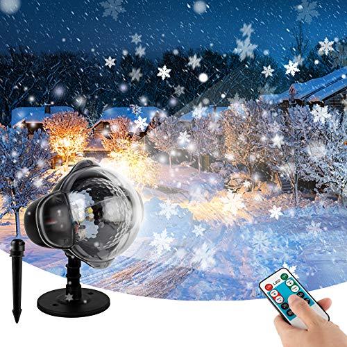 Wilktop Proyector LED de copos de nieve, proyector LED con mando a distancia inteligente, proyector de Navidad, IP65, resistente al agua, iluminación de Navidad, para bodas, Navidad y otras fiestas