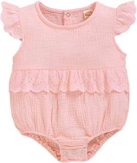 WARMSHOP Toddler Girls Solid Flock Lace Long Sleeve Bodysuit Romper Sunsuit Outfits 0-24M