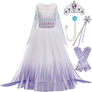 LOBTY Fille Elsa Princesse Costume Robe avec Châle Reine des Neiges Reine des Neiges 2 Halloween Fête d'anniversaire De No...