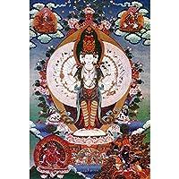 チベットタンカ チベット仏教タンカ家の装飾絵画タンカリビングルームぶら下がっている写真 (Color : Ferr, Size : 50x75cm No Frame)