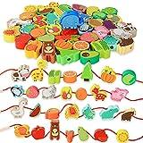 Montessori Educational Threading Toys Wooden Stringing Farm Animals...