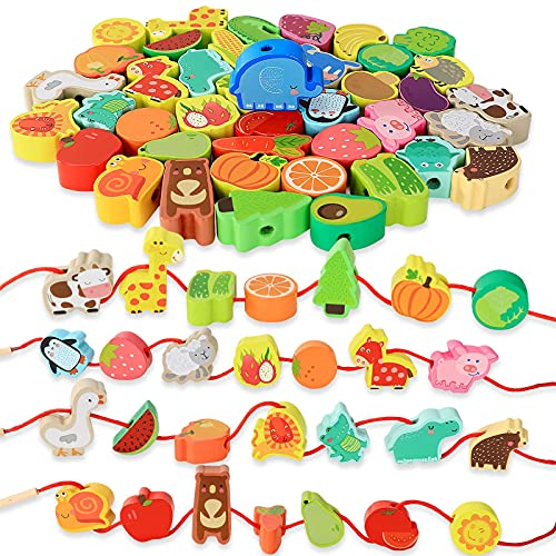 Montessori Educational Threading Toys Wooden Stringing Farm Animals Fruits Lacing Beads Preschool Toy for Toddler 18 Month 1 2 3 4 5 Year Old Boys Girls
