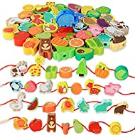 BMTOYS Montessori Educational Threading Toys Wooden Stringing Farm Animals Fruits Lacing Beads Preschool Toy for Toddler 18 Month 1 2 3 4 5 Year Old Boys Girls