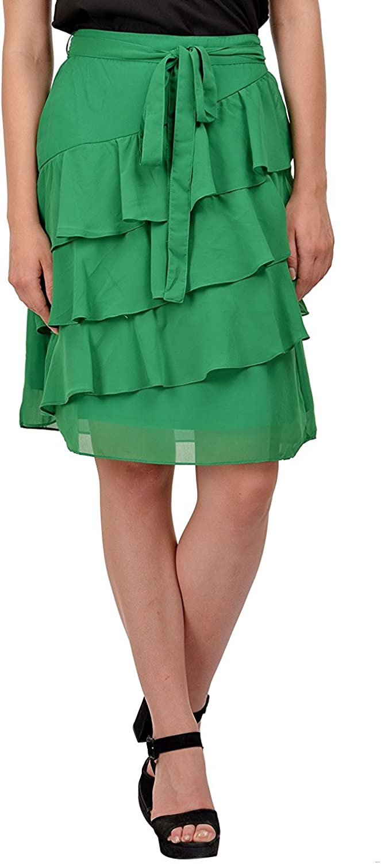 RADANYA Women's Ruffle Skirt Georgette Wear Casual Elastic Waisted Midi Skirt S-5XL