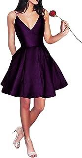 Short Spaghetti Straps V-Neck A-line Homecoming Dress with Pockets
