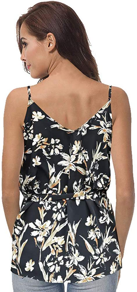 EYCYY Women's Summer Sleeveless Floral Print Button Down V Neck Strappy Tank Tops Loose Casual Shirts Blouses