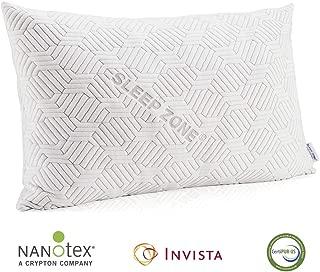 SLEEP ZONE Premium Bed Pillow Temperature Regulation Shredded Memory Foam Hypoallergenic Adjustable Loft Bamboo Cover with YKK Zipper, Queen