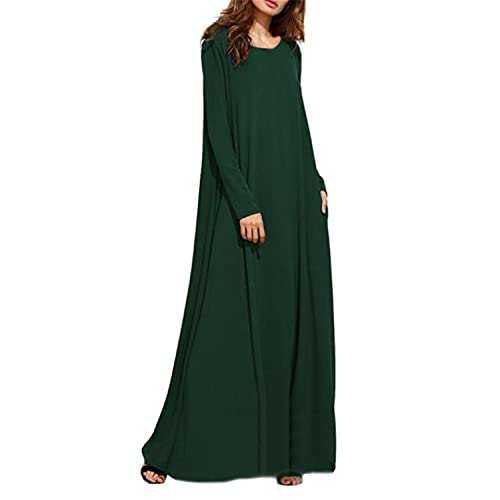388410d3334 Kidsform Women Maxi Dress Long Sleeve Casual Loose Kaftan Party Long Dresses  with Pockets