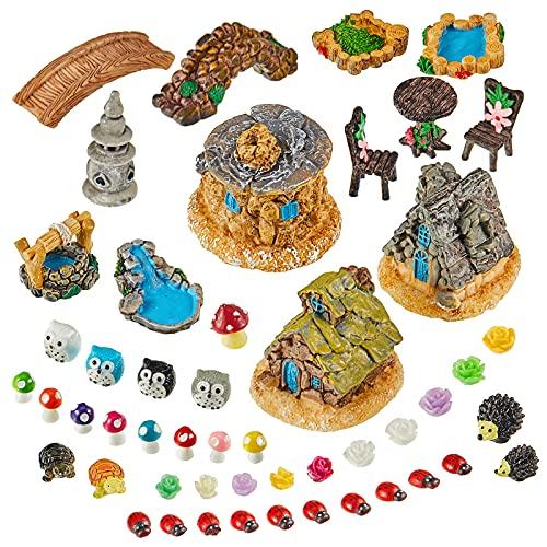 Skylety 49 Accesorios de Jardín en Miniatura de Hadas, Figuras y Casas de Jardín en Miniatura...