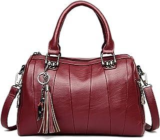 Women's Shoulder Bag Large Vegan Leather Shoulder Bag for Women Bag with Chain (Color : Red, Size : One size)