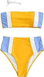 SweatyRocks Women's Sexy Bathing Suits Strapless Print Bandeau Bikini Swimwear Set