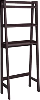 VASAGLE Over-The-Toilet Storage Rack, Bathroom Space Saver Unit, 3-Tier Shelf Organizer, Multifunctional Toilet Rack, Adjustable Bottom Bar, Dark Brown UBBC11BR
