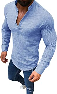 743adf16c775 Simayixx Men Shirts Male Casual Linen Long Sleeve T-Shirt Fashion V-Neck  Button