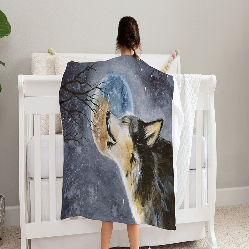 LPVLUX Watercolor Direct stock discount Picture Wolf Moon Background Rapid rise On Super Blanket