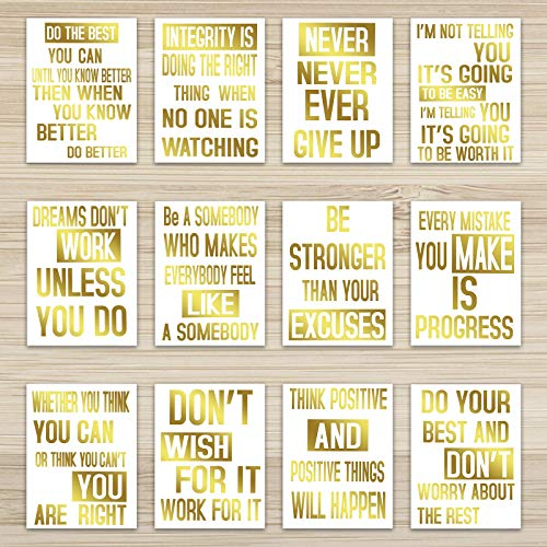 Zonon 12 Pieces Inspirational Phrases Gold Foil Posters Motivational Print Quote Posters Inspiring Lettering Wall Posters Foil Art Wall Cardstocks for Classroom Home Decor, 8 x 10 Inch, Unframed