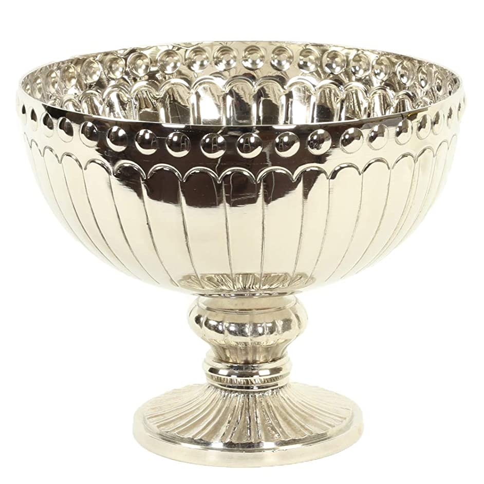 Koyal Wholesale Silver Metal Pedestal Bowl 10 x 8-Inch Floral Compote Vase, for Wedding Centerpiece