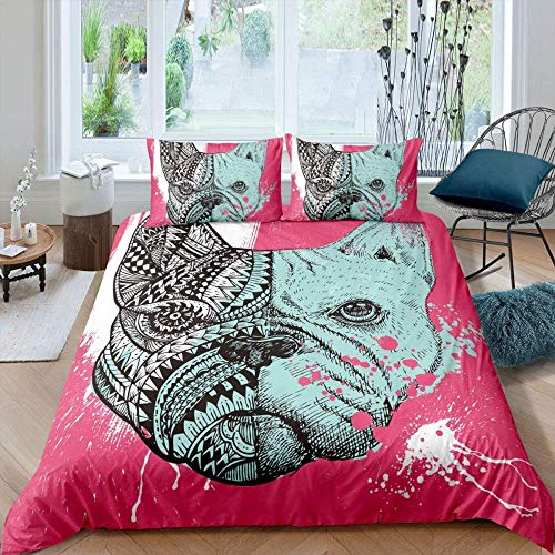 Bcooseso 3D Double size 200 x 200 cm Print Duvet Cover Bedding Set With Pair Of Pillow Case Single Double King S-King Size Creative graffiti pink pug pattern