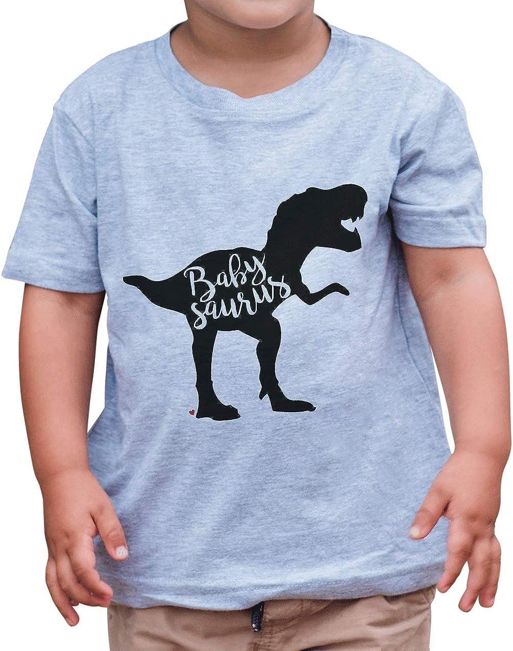 7 ate 9 Apparel Kid's Babysaurus Dinosaur Grey T-Shirt