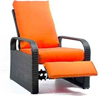 Outdoor Wicker Recliner Chair with 5.12'' Cushions, Automatic Adjustable Patio Chaise Lounge Chairs, Aluminum Frame. UV Resistant and Rustless (Orange)