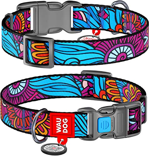 Adjustable Dog Collar for Medium Dogs - Nylon Dog Collars with QR ID Tag for Large Dogs - Breakaway Puppy Collars for Large Breed Dogs - Male and Female Dog Collar (Summer, 13.2x19.4 Inch)