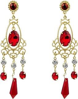 Lightweight Gothic Costumes Jewelry Red Crystal Teardrop Chandelier Stud Dangle Earrings