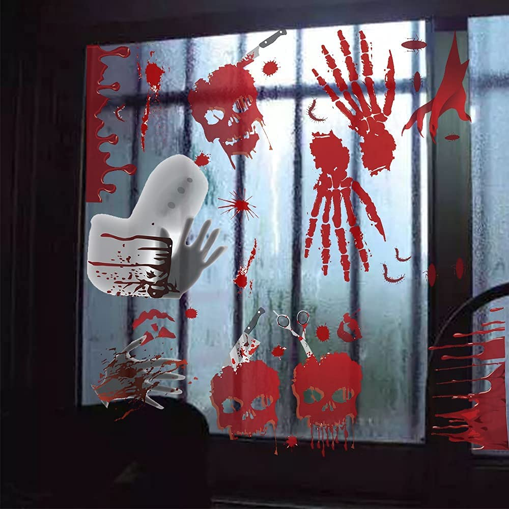Dropower Complete Free Shipping 118pcs Bloody Handprint Sticker Halloween Window Clings Ranking TOP13