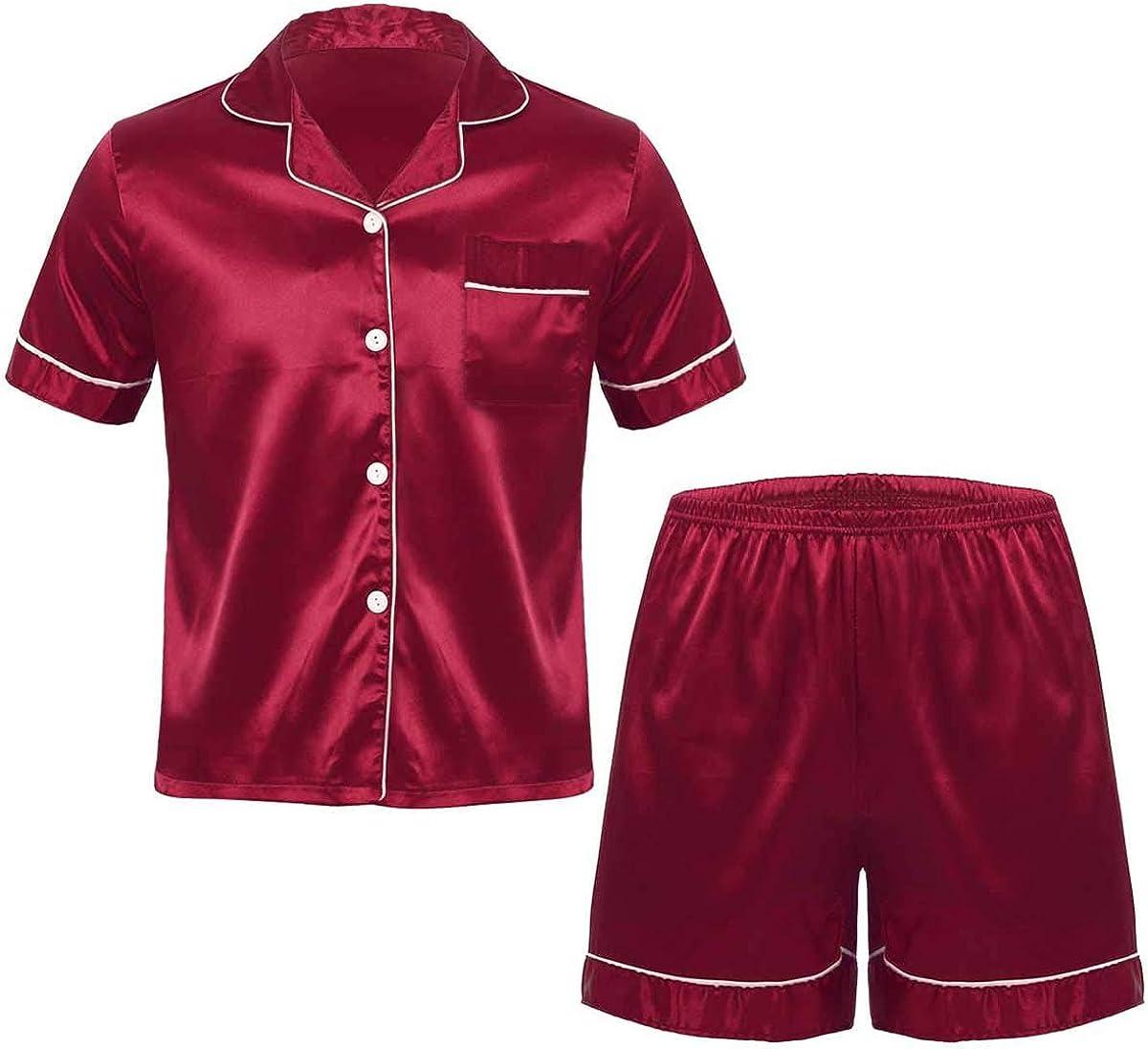 iiniim Men's Short Ultra-Cheap Deals Sleeve Satin Pajama San Antonio Mall Shorts Classic S with Set