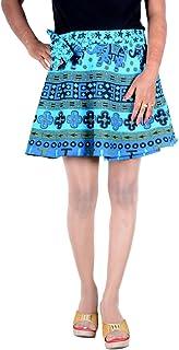 Girls Ethnic Style Cotton Wrap Around Printed Free Size Sarong Skirt Turquoise