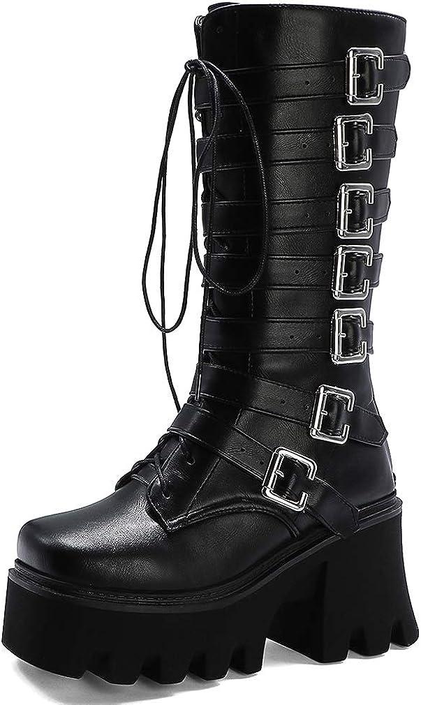 heelchic Women Sexy Platform Boots Goth Combat Boots Mid Calf Short Boots