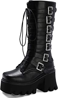 Details about  /Women Mid Calf Knight Boots Chunky Low Heel Round Toe Motor Warm Lining Shoes D
