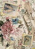 Carta di riso Cadence timbri scarpe e ballerine su fondo vintage 30 x 41 cm Rif. 343