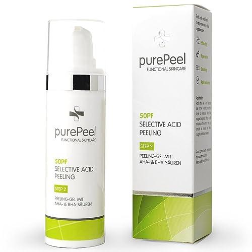 purePeel Gesichtspeeling-Gel/Selective Acid AHA+BHA Fruchtsäure-Peeling mit Salicylsäure 50pf, 30 ml bei Aknenarben, Groben Poren, Verhornungsstörungen, Pigmentflecken & Fältchen