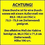 Duschkabine Bremen 90x75 cm Drehtür Seitenwand Dusche Sicherheitsglas alu-natur Bremen vom Renovierungsprofi - 3