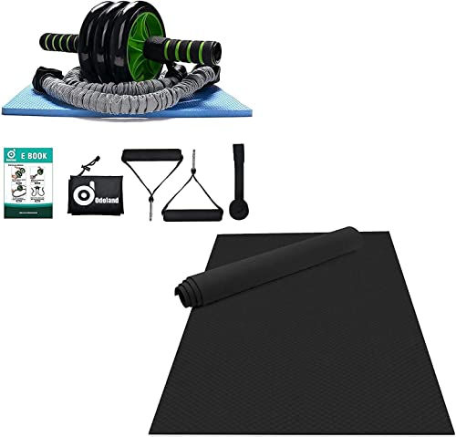 wholesale Odoland Large Yoga Mat new arrival 72'' x 48'' (6'x4') x6mm for Pilates Stretching Home Gym Workout, Black, and 3-In-1 AB Wheel Roller Kit AB Roller 2021 Pro sale