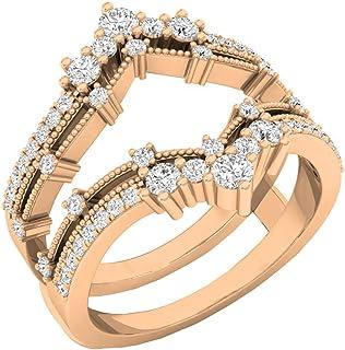 Dazzlingrock Collection - Banda doble de boda de diamante redondo de 0,60 quilates para mujer, con 5 piedras de color dora...